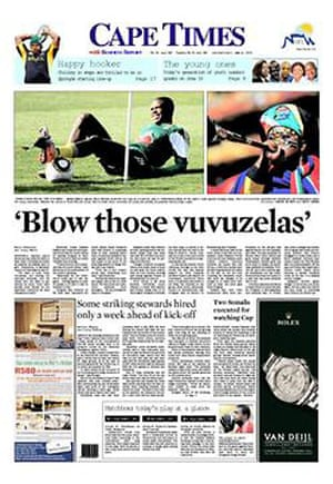 World Cup pages: Cape Times, South Africa