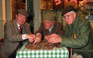 last of the Summer Wine: Peter Sallis (Clegg) Bill Owen (Compo) and Brain Wilde (Foggy) in 1999