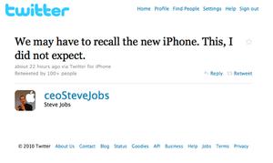 Tweet from fake Steve Jobs twitter account