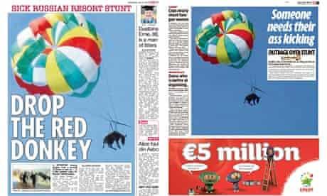 The Sun and Mirror's donkey headlines