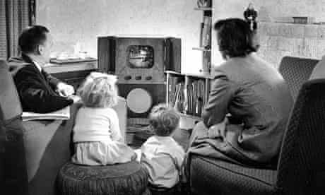 Family watching television TV 1950