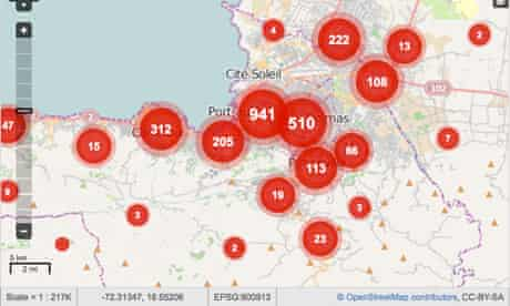 Ushahidi map of Port-au-Prince, Haiti