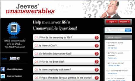 Ask Jeeves 'Unanswerables'