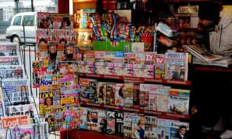 Magazine stand at newsagent's