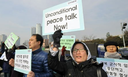 South Korean activists call for peace talks at demonstration in Seoul