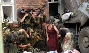 Russian soldiers during the Beslan school rescue operation