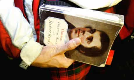 Man with kilt and book of Robert Burns' poetry