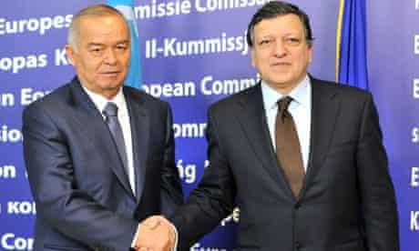 Uzbekistan president Islam Karimov, left, with European Commission President Jose Manuel Barroso
