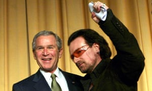 George W Bush and Bono at the National Prayer Breakfast in 2008