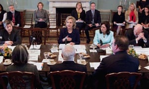 Hillary Clinton chairs meeting at state department in Washington