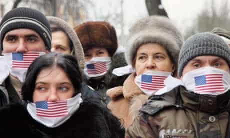 Julian Assange supporters in Kiev