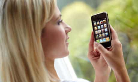 Girl using iPhone