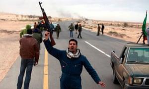 Anti-Gaddafi rebels near Ras Lanuf