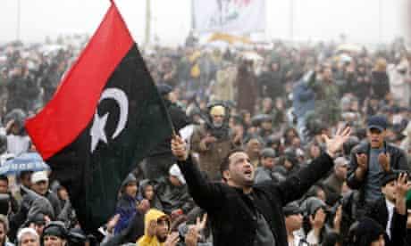 Anti-Gaddafi protester in Benghazi