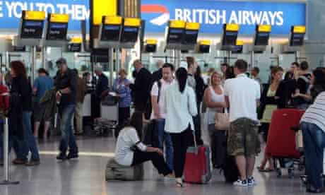 Stranded passengers at Heathrow during British Airways strike