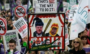 Demonstrators protest against the coalition spending cuts