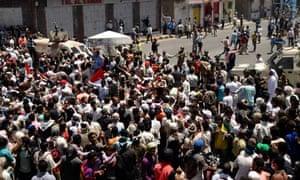 Anti-government protesters in Taiz, Yemen