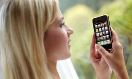Girl using an iPhone