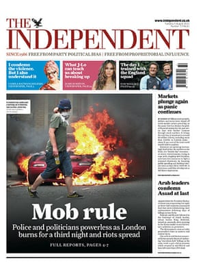 London riots front pages: The Independent