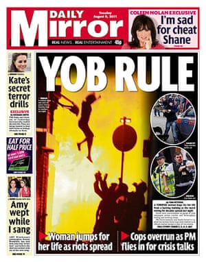 London riots front pages: Daily Mirror final