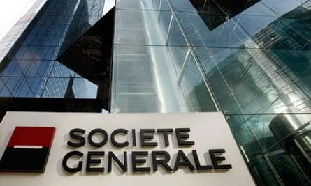 The headquarters of French bank Societe Generale in La Defense business centre near Paris