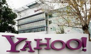 Yahoo logo outside its Sunnyvale, California, USA offices
