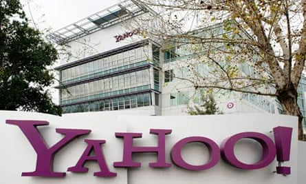 Yahoo logo outside its Sunnyvale, California, USA offices