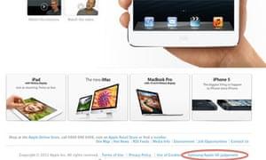 The Samsung/Apple UK judgment link on Apple's UK website