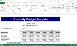 Excel 2013, showing the Metro-style ribbon user interface