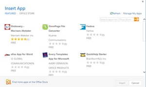 Office 2013 has its own integrated app store