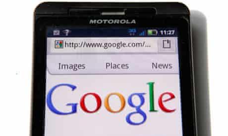 Motorola phone displaying Google homepage
