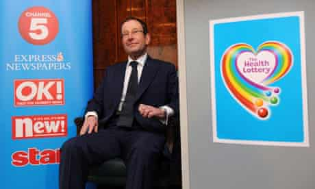Richard Desmond at the launch of the Health Lottery