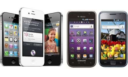 Apple's iPhone 4S and Samsung's Galaxy S 4G and Galaxy S smartphones