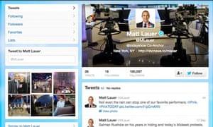 Matt Lauer Twitter page