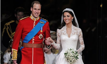 Duke and Duchess of Cambridge on their wedding day outside Westminster Abbey, London