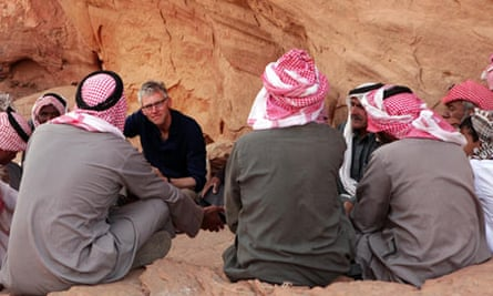 Tom Holland with Bedouin in Wadi Rum, Jorda in the Channel 4 documentary Islam: The Untold Story