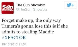 The Sun Showbiz tweet about Tamera Foster that referred to Madeleine McCann