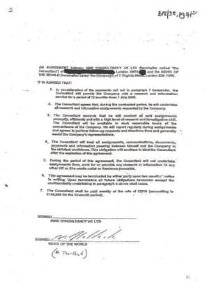 Glenn Mulcaire's contract with the News of the World