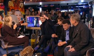 Matt Smith flicks a V-sign on Doctor Who Live: The Afterparty