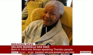 BBC coverage of Nelson Mandela's death