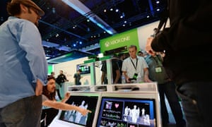 E3 visitors check out the feedback display from Microsoft's next generation Kinect with Xbox One