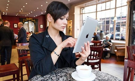 Young woman using an Apple iPad