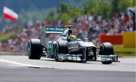 Lewis Hamilton drives during qualifying for German F1 Grand Prix