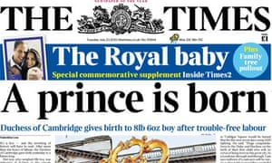 The Times - royal baby front page
