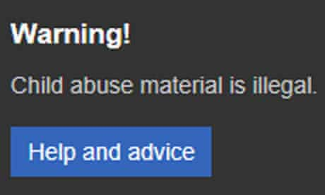 Child abuse warning on Microsoft's Bing
