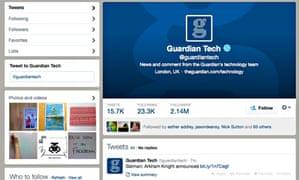 Guardian Technology's Twitter feed has 2.14 million followers