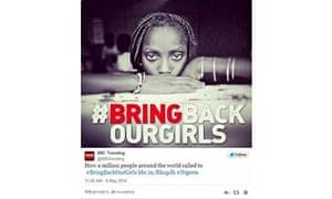 BBC Trending tweet using the incorrect #BringBackOurGirls image