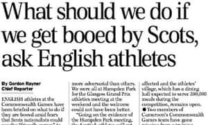 Daily Telegraph story on English athletes