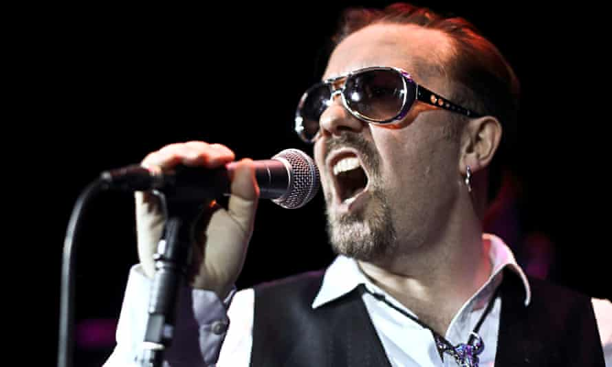 Ricky Gervais as David Brent on stage at the Bloomsbury Theatre in London