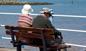 pensioners at seaside resort